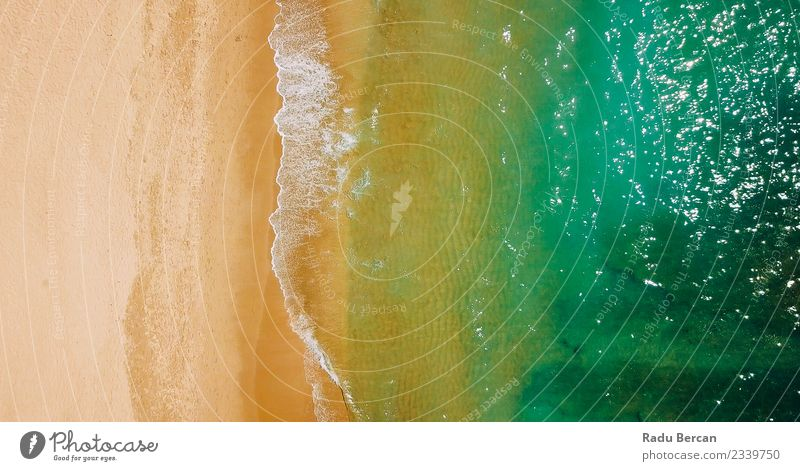 Aerial View Of Ocean Waves And Beach In Algarve Nature Vacation & Travel Summer Colour Beautiful Water Landscape Warmth Environment Coast Sand Earth Adventure