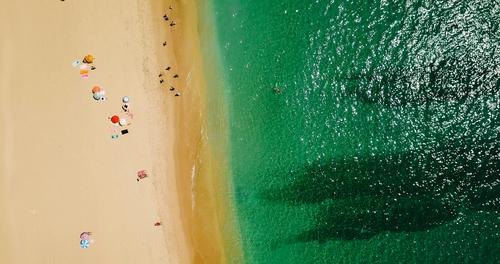 Aerial View Of People Crowd On Portugal Beach Human being Nature Vacation & Travel Summer Colour Landscape Sun Ocean Lifestyle Environment Coast