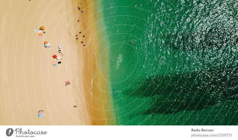 Aerial View Of People Crowd On Portugal Beach Lifestyle Exotic Swimming & Bathing Vacation & Travel Adventure Summer Summer vacation Sun Sunbathing Ocean Island
