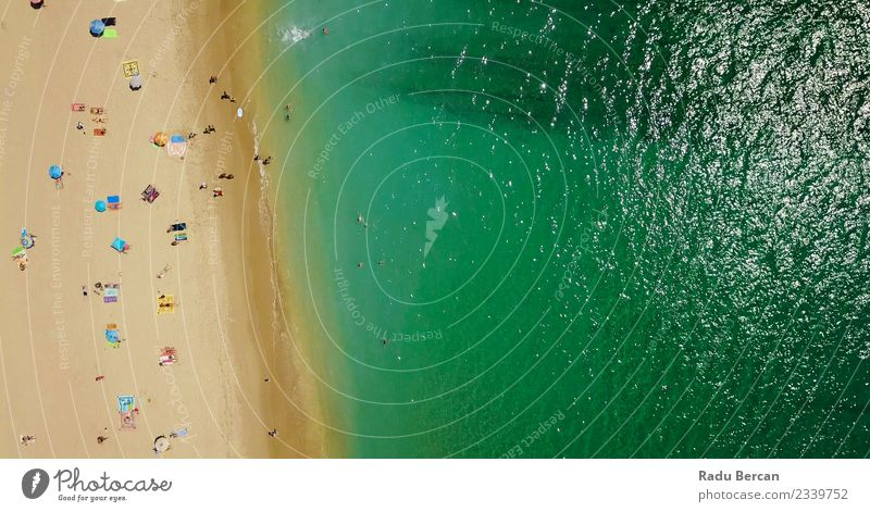 Aerial View Of People Crowd Relaxing On Beach In Portugal Lifestyle Swimming & Bathing Vacation & Travel Summer Summer vacation Sun Sunbathing Ocean Island