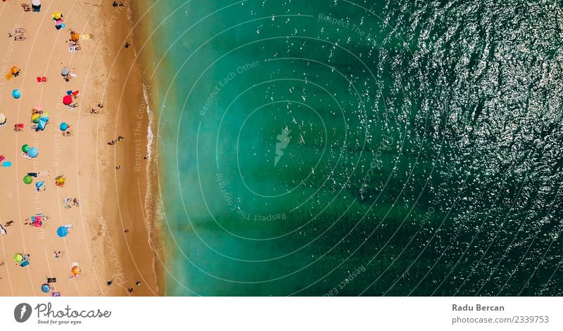 Aerial View Of People Crowd Relaxing On Beach In Portugal Lifestyle Exotic Swimming & Bathing Human being Crowd of people Environment Nature Landscape Summer