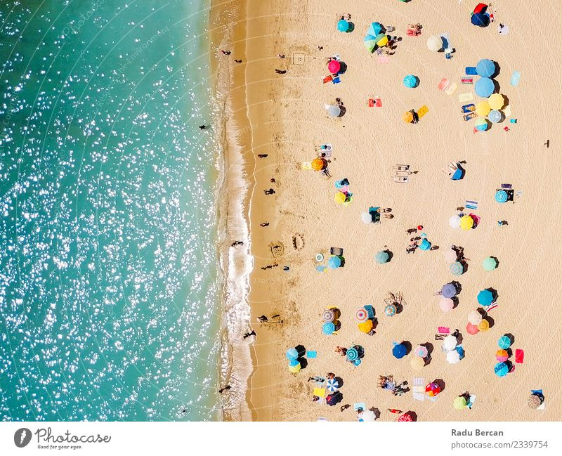Aerial View From Flying Drone Of People Crowd Nature Vacation & Travel Summer Landscape Sun Ocean Relaxation Beach Lifestyle Environment Coast Happy Freedom