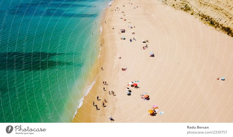 Aerial View From Flying Drone Of People On Beach Nature Vacation & Travel Summer Landscape Sun Ocean Lifestyle Environment Coast Freedom Swimming & Bathing