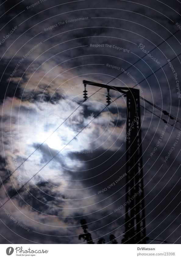 night of the full moon Full  moon Night Clouds Moody Witching hour Electricity pylon Long exposure Moon Sky Spooky