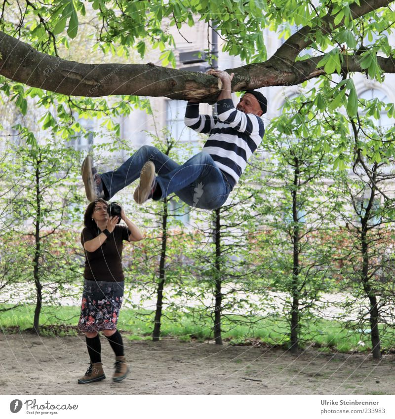 Human being Woman Man Tree Joy Leaf Adults Life Funny Friendship Park Leisure and hobbies Masculine Jeans Camera 45 - 60 years