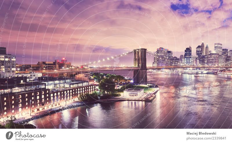 Dumbo neighborhood and the Brooklyn Bridge at night, New York. Sky Night sky River Skyline House (Residential Structure) High-rise Building Architecture Facade