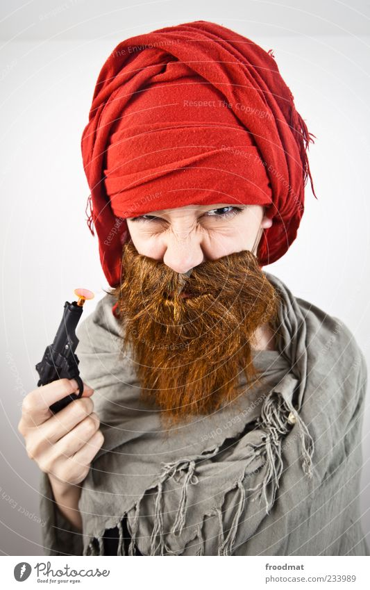 Human being Woman Man Adults Funny Feasts & Celebrations Masculine Threat Carnival Facial hair Trashy Facial expression Aggression Carnival costume Weapon Handgun