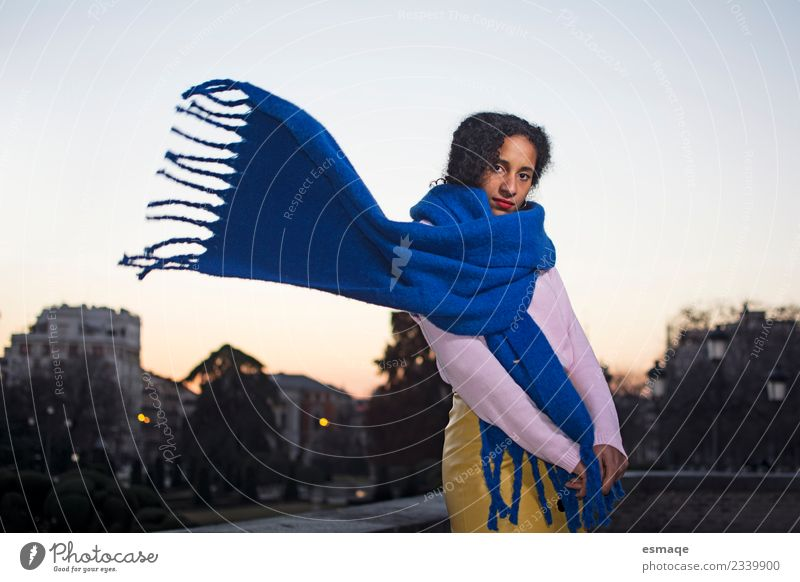 Young mulatto girl with scarf in the night city Lifestyle Style Exotic Joy Healthy Feminine Young woman Youth (Young adults) Village Small Town Scarf Fresh