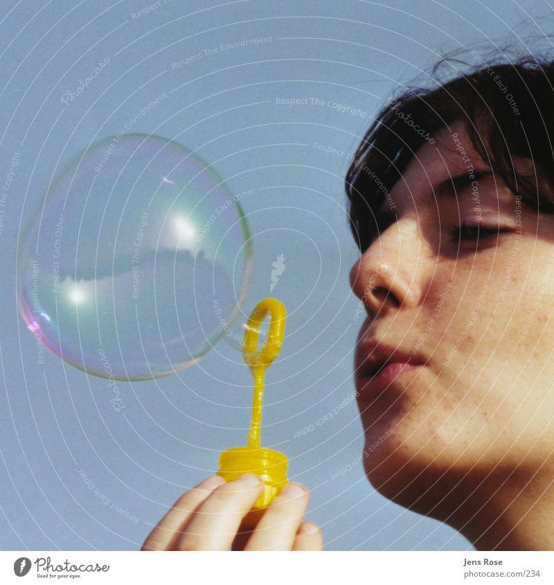 soap bubble Soap bubble Summer Human being Face
