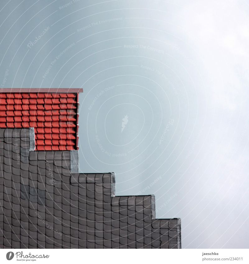 House (Residential Structure) Architecture Facade Stairs Exceptional Roof Simple Square Geometry Sharp-edged Roofing tile Gable Zigzag Building Gable end