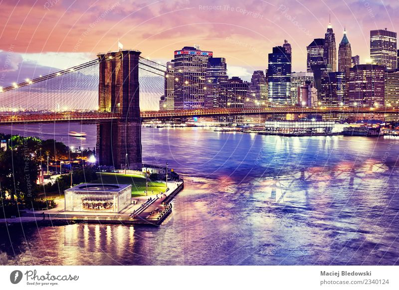 Brooklyn Bridge and the Manhattan at night, New York City. Sky Night sky River Town Skyline Overpopulated High-rise Building Architecture Elegant