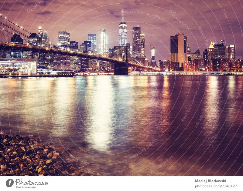 Brooklyn Bridge and the Manhattan at night, NYC. Vacation & Travel Town Landscape Architecture Building Time High-rise Vantage point USA River Target Skyline