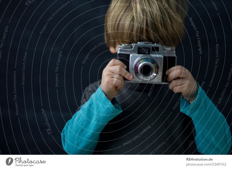 Kid wants to take a picture Child Boy (child) Infancy Leisure and hobbies Take a photo Photography Camera portrait blurriness Day Creativity Idea Black Blue
