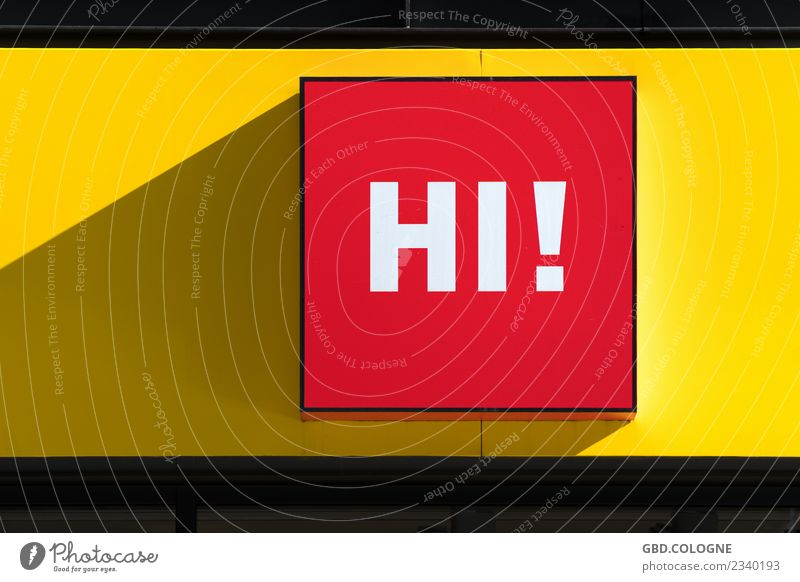 Why don't you say hi? Characters Signs and labeling Signage Warning sign Yellow Red Hospitality Hello Hi Welcome Words of greeeting Colour photo Multicoloured