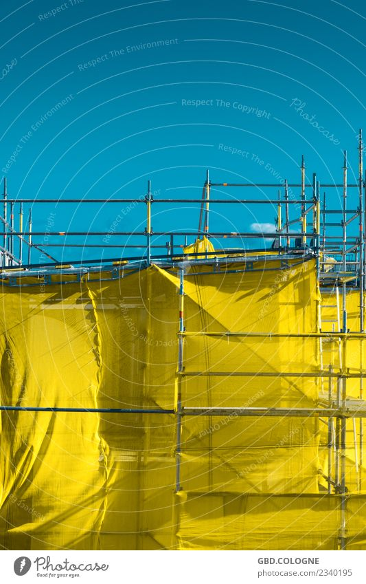 yellow postal secret Sky Cloudless sky Beautiful weather Manmade structures Building Blue Yellow Scaffolding Scaffolder Modernization Redecorate Packaged Sheath