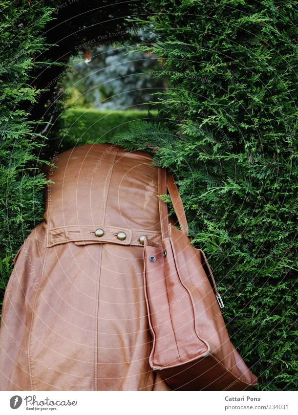 never.where. Human being Woman Adults 1 Nature Plant Bushes Hedge Jacket Coat Leather Bag Handbag Leather bag Buttons Observe Hang Lie Brash Curiosity Thin