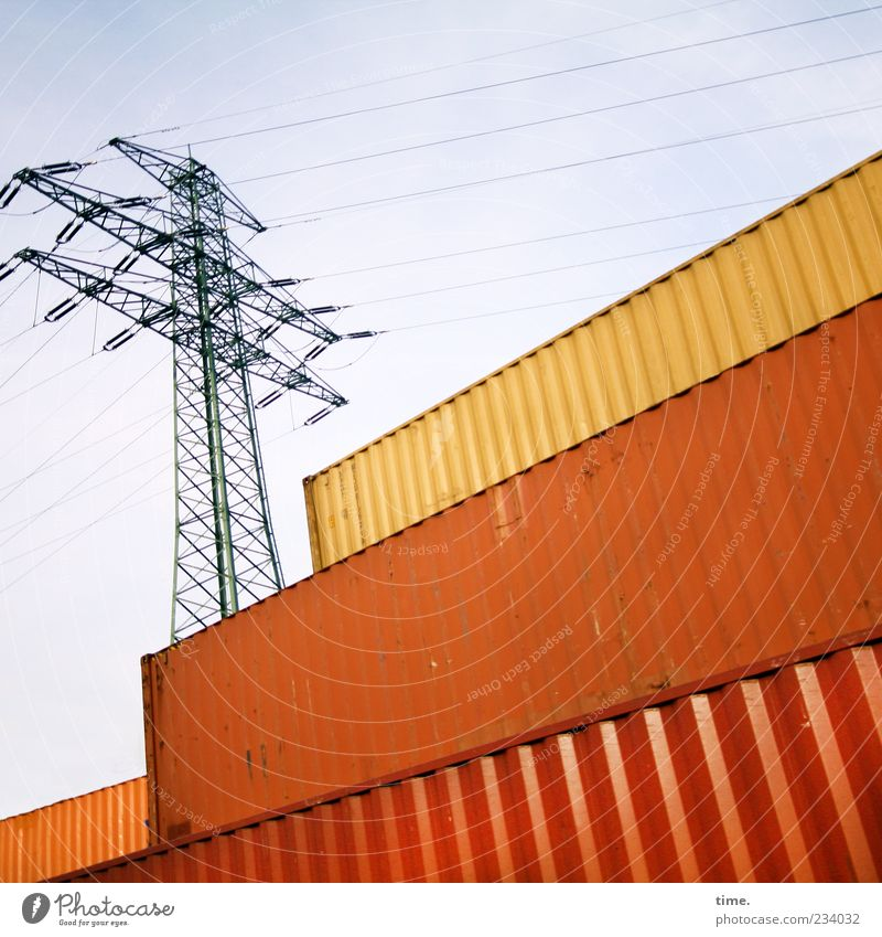 Golden Calves Economy Trade Energy industry Technology Industry Harbour Container Metal Brown Yellow Competition Luxury Change Orange Go up Diagonal