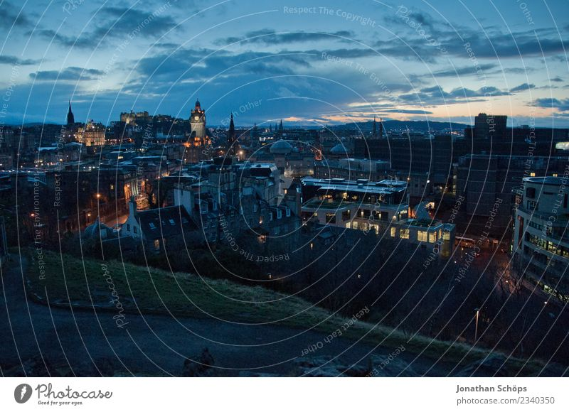 Edinburgh by Night - View from Calton Hill Scotland Capital city Edinburgh Castle Vantage point Town Skyline Twilight Evening Tourism Far-off places