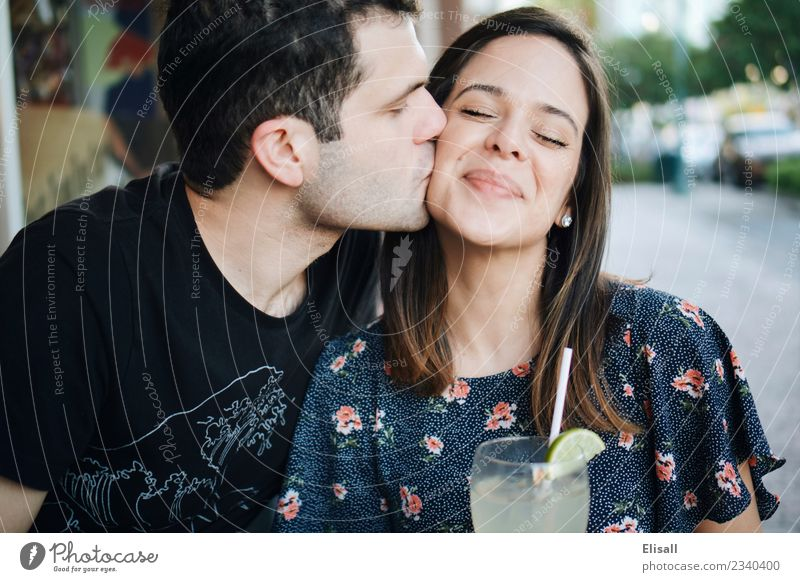 Cute young couple kissing Food Drinking water Lemonade Lifestyle Wellness Well-being Vacation & Travel Tourism Feasts & Celebrations Human being 2 Emotions Joy