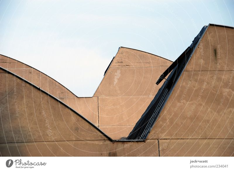 chipped roofscape of a factory building Cloudless sky Building Hall Roof Wall (barrier) Wall (building) Hatch Concrete Line Simple Modern Brown Esthetic