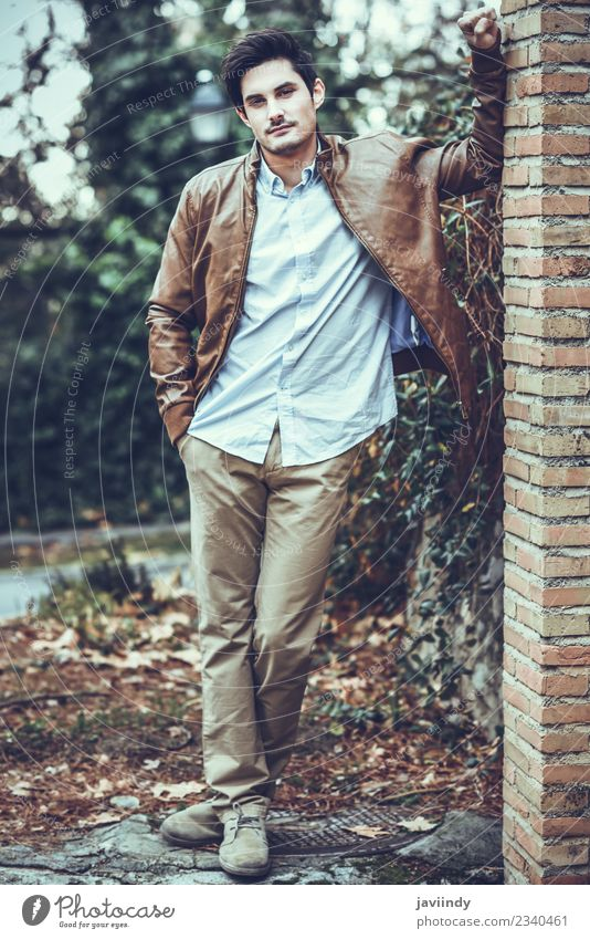 Attractive man, model of fashion, outdoors. Human being Youth (Young adults) Man Young man White 18 - 30 years Face Adults Lifestyle Autumn Style