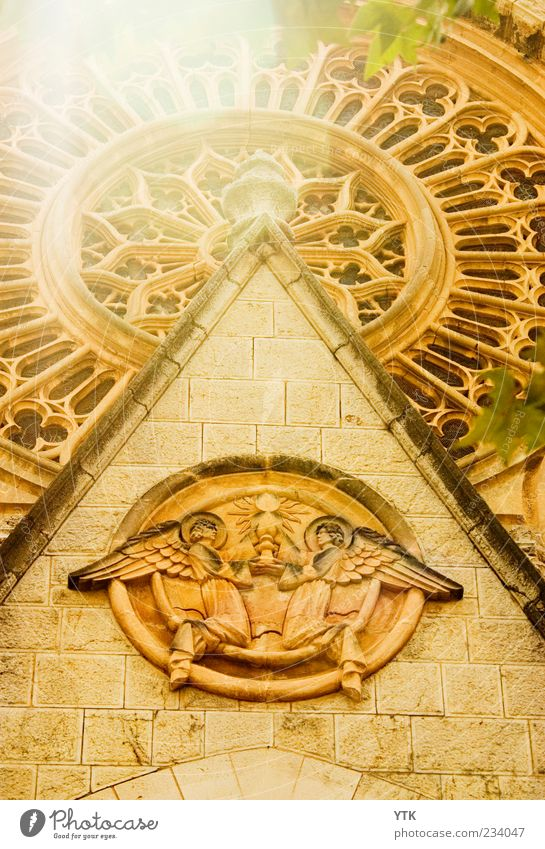 Old Sun Yellow Wall (building) Above Architecture Religion and faith Wall (barrier) Bright Moody Gold Facade Large Exceptional Church Decoration