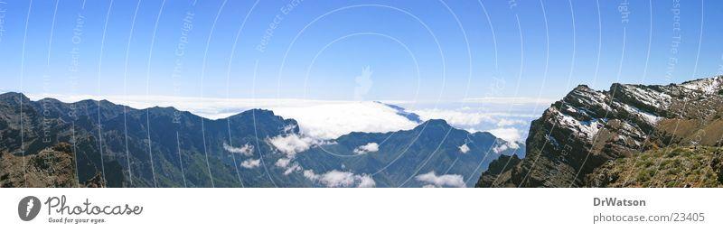 Sky Clouds Mountain Large Horizon Panorama (Format) Canaries La Palma Trade wind clouds Caldera de Taburiente