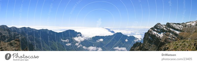 Sky Clouds Mountain Large Horizon Panorama (Format) Canaries La Palma Trade wind clouds Caldera de Taburiente