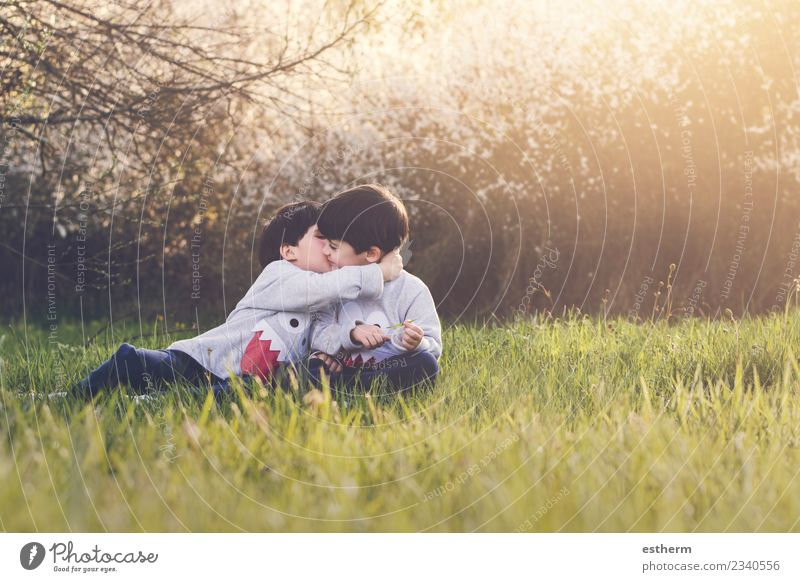 brothers sitting in the field Lifestyle Joy Playing Garden Human being Masculine Child Baby Toddler Boy (child) Brothers and sisters Family & Relations