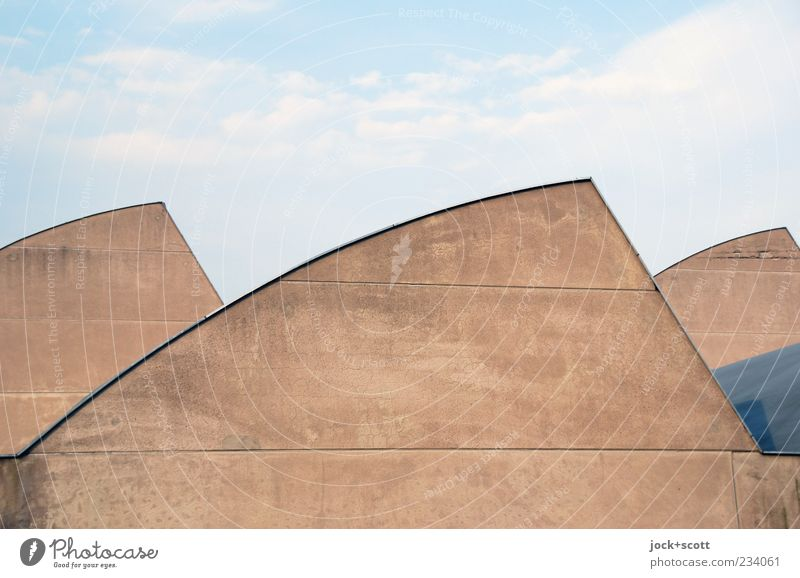 unimposing roofscape of a warehouse Sky Architecture Warehouse Roof Concrete Line Brown Modern Symmetry Round Functionalism Undulation Prefab construction