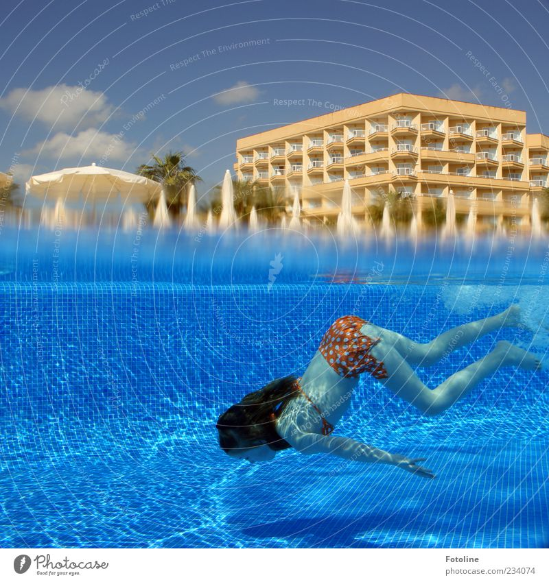 Deeper! Human being Child Girl Infancy Skin Arm Hand Legs Feet Hot Bright Wet Blue Swimming pool Dive Hotel House (Residential Structure) Building