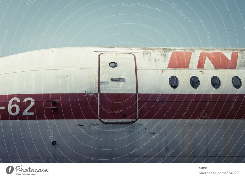 check Vacation & Travel Aviation Sky Airplane Passenger plane Aircraft Flying Old Retro Red Nostalgia Airplane window Opening Digits and numbers Weathered