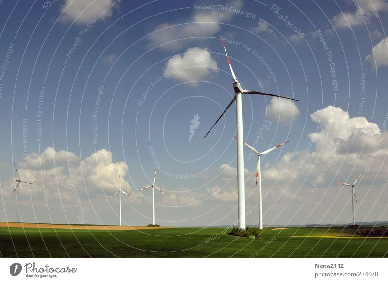 wind power Air Sky Clouds Sunlight Spring Summer Climate Climate change Weather Beautiful weather Wind Meadow Field Blue Wind energy plant