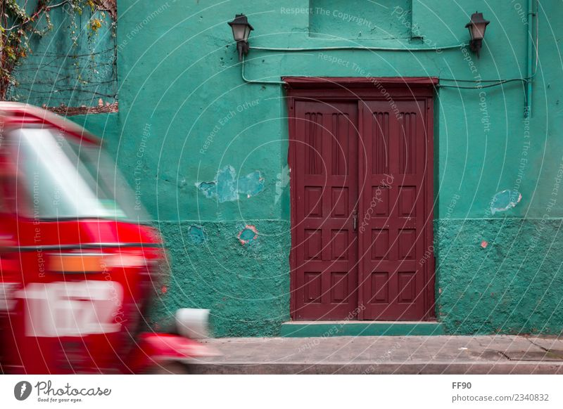 Typical Guatemala flores Central America Town Old town House (Residential Structure) Door Landmark Means of transport Tuc-Tuc Retro Brown Green Red Turquoise