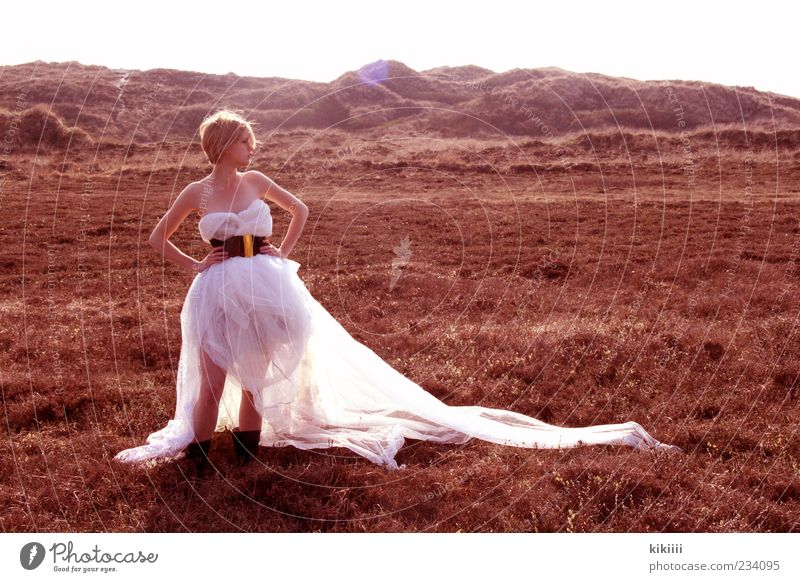 horizon Dress White Blonde Exterior shot Tulle Vail Meadow Hill Mountain Far-off places Steppe Stand Wait Copy Space right Back-light Lighting Hope