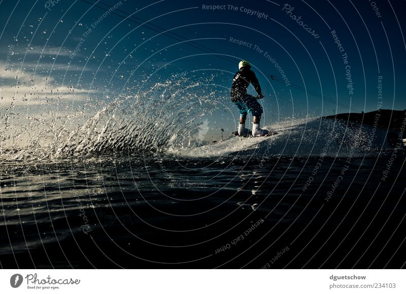 Wakeboarder - Approach Table Style Leisure and hobbies Sports Aquatics Masculine Man Adults Athletic Water Splash of water Colour photo Exterior shot Day Light