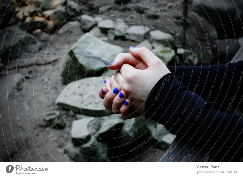 Nature Youth (Young adults) Blue Hand Loneliness Black Calm Landscape Feminine Cold Gray Stone Sadness Contentment Rock Arm