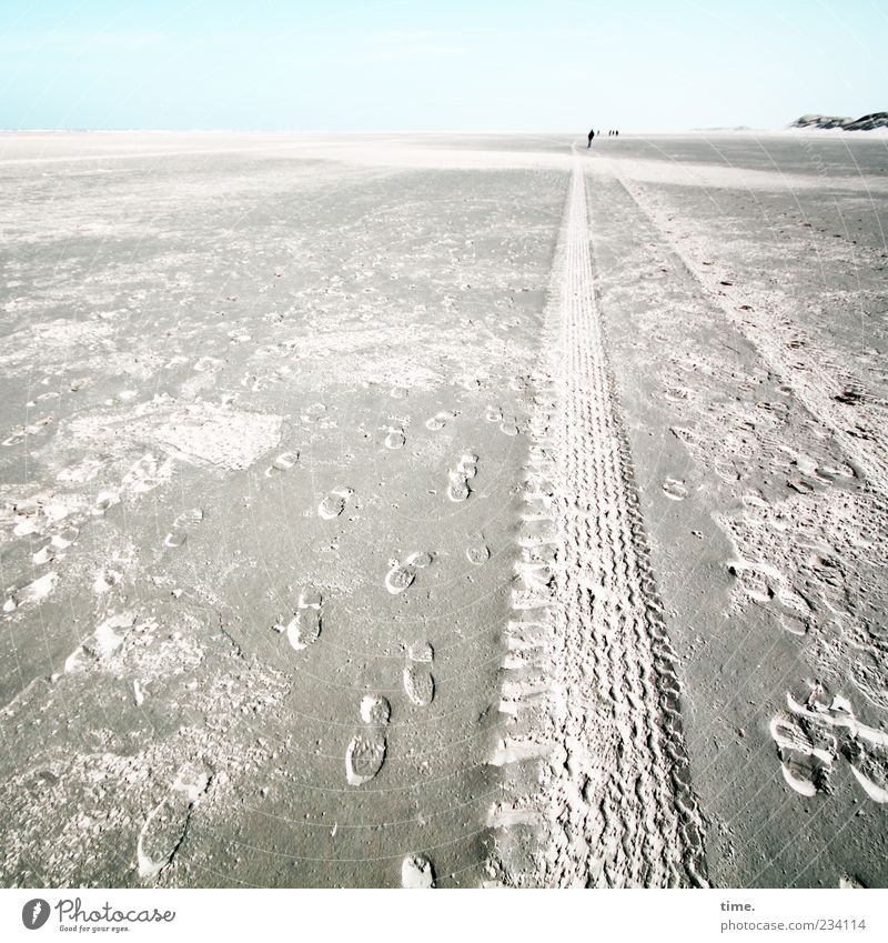 Spiekeroog Wreckfinder. Far-off places Beach Sand Horizon Footprint Blue Tracks Skid marks Imprint Beige Dune Beach dune Relief Mud flats Nature reserve