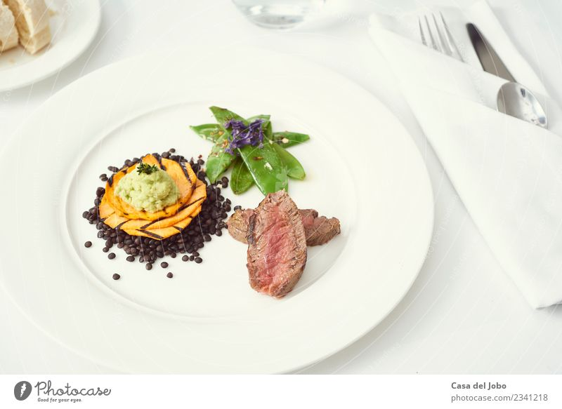 dinner with beef on a pure white dinner plate Food Meat Vegetable Bread Eating Dinner Banquet Organic produce Slow food Italian Food Beverage Drinking water