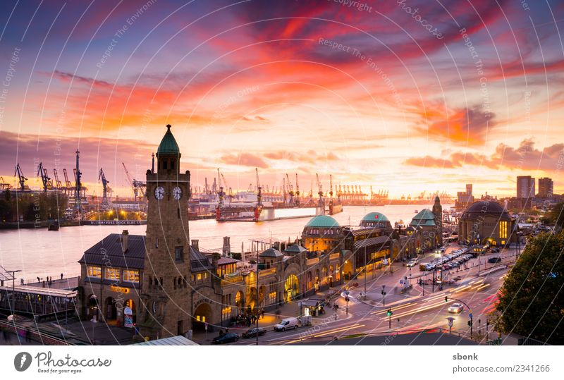 Hamburg sunset Town Skyline Vacation & Travel City harbour river urban Transport public train autumn evening bridge cityscape Germany lights scene view panorama