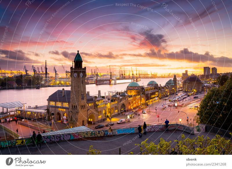 Hamburg evening skyline Town Skyline Vacation & Travel City harbour river urban Transport public train autumn bridge cityscape Germany lights scene view