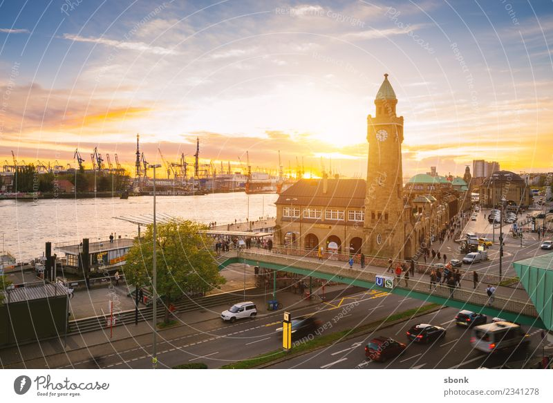 Sunset in Hamburg Skyline Vacation & Travel City harbour river urban Transport public train autumn evening bridge cityscape Germany lights scene view panorama