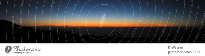 Sky Sun Ocean Moody Large Horizon Dusk Panorama (Format)