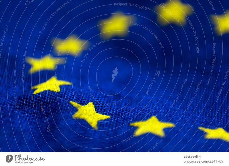 Blue Yellow Copy Space Waves Europe Star (Symbol) Landmark Flag Cloth Wrinkles Alliance European flag European parliament Bulge Coalition