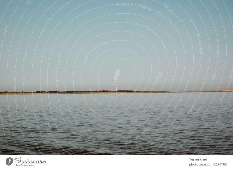 Spiekeroog, I'm always two ways from you. Ocean Waves Water Wind energy plant Renewable energy Beach Sand Sky Clouds Summer Sunlight Copy Space top