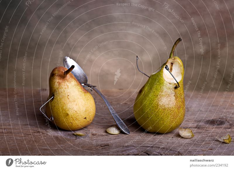 spooned up Food Fruit Pear Pear stalk Cutlery Spoon Exceptional Broken Small Sweet Brown Yellow Green Silver Pain Fear Revenge Bizarre Still Life Spoon up
