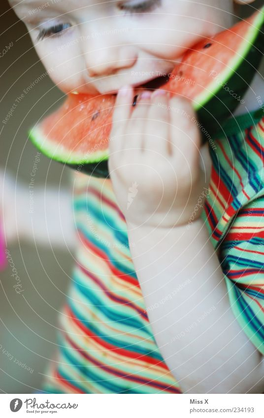 Human being Child Hand Red Nutrition Food Eating Infancy Fruit Wet Sweet To hold on Toddler Appetite To enjoy Delicious