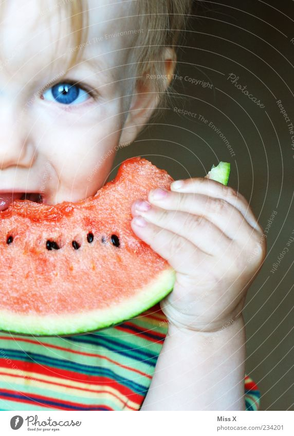Melon & blue eyes Food Fruit Nutrition Organic produce Vegetarian diet Human being Child Toddler Boy (child) Infancy Eyes 1 1 - 3 years Eating Delicious Wet