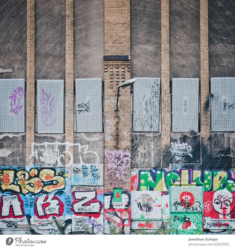 Town House (Residential Structure) Wall (building) Graffiti Background picture Berlin Building Lamp Facade City life Wild Culture Capital city Factory Chaos