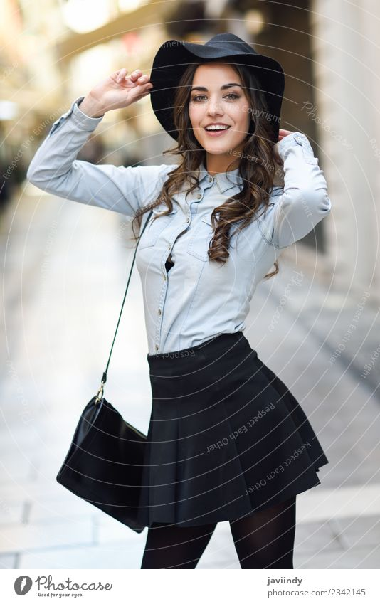 young woman in urban background wearing casual clothes Lifestyle Elegant Style Happy Beautiful Hair and hairstyles Face Human being Feminine Young woman